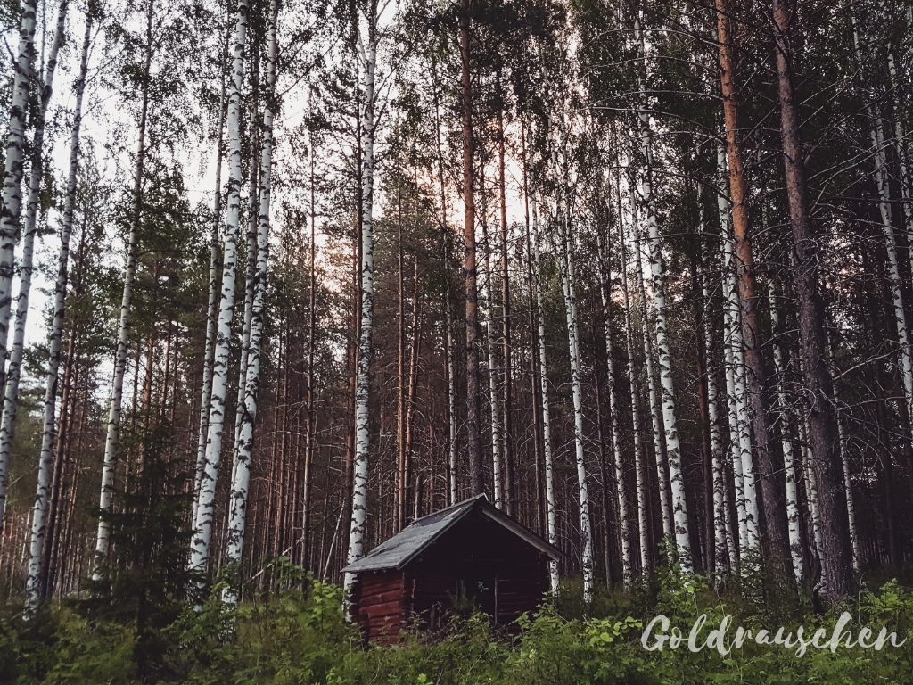 Holzhütte in Lappland