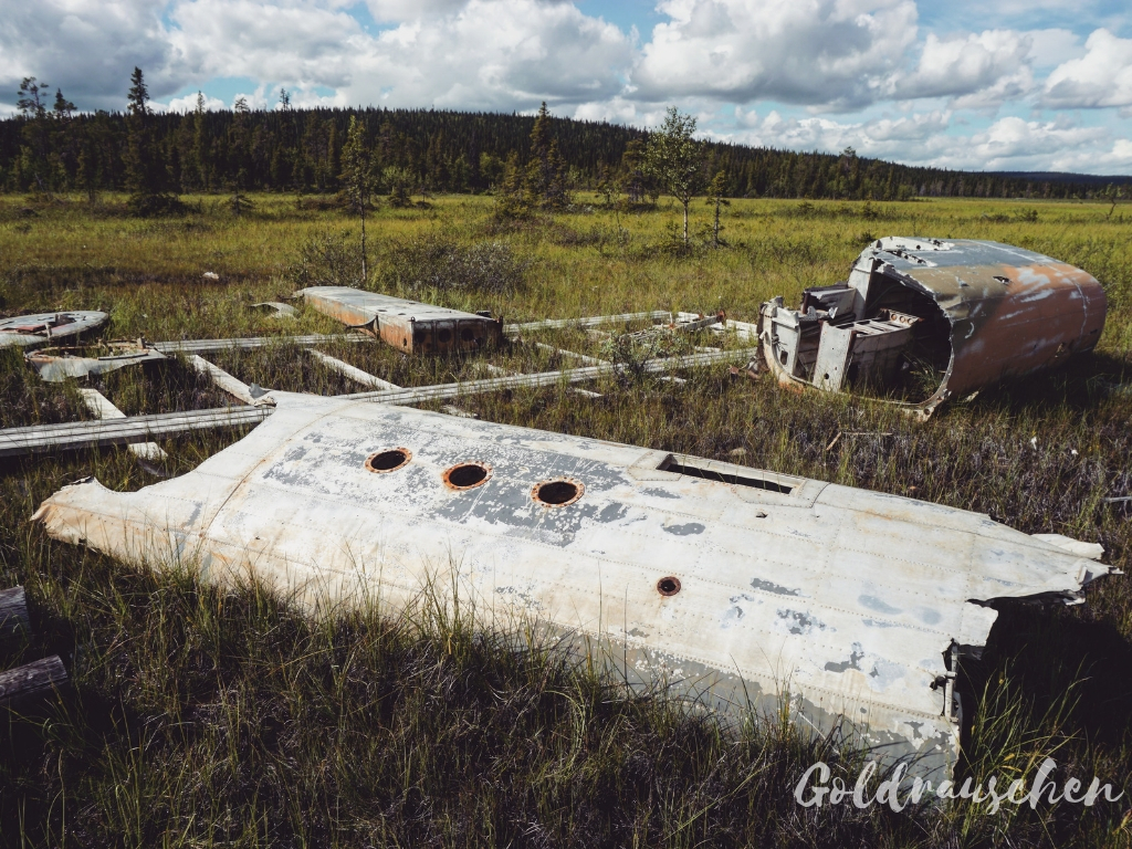 Flugzeugwrack beiPorjus Schwedisch-Lappland